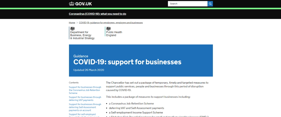 Screenshot of government COVID-19 webpage